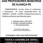 CARTAZ ASSEMBLEIA ALIANCA 18-09-2017