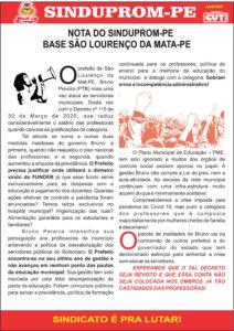 NOTA A BASE DE SAO LOURENCO DA MATA 01-04-2020