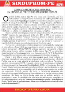CARTA PROFESSORES SAO JOSE DO EGITO - 11-05-2020