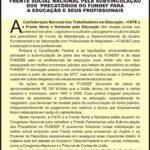 CARTAZ FRENTE SOCIAL NACIONAL PELA SUBVINCULACAO DOS PRECATORIOS DO FUNDEF PARA A EDUCACAO E SEUS PROFISSIONAIS